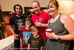 Harley-Davidson motorcycle designer Casey Ketterhagen with his beautiful family at the pre-party for the Handbuilt Motorcycle Show at Revival Cycles. Austin, TX. April 9, 2015.  Photography ©2015 Michael Lichter.