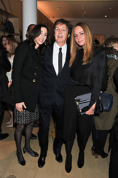 Left to right, LADY McCARTNEY, SIR PAUL McCARTNEY and STELLA McCARTNEY at a party to celebrate the switching on of the Christmas Lights at the Stella McCartney store, Bruton Street, London on 29th November 2011.
