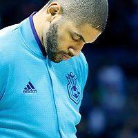 01 November 2015: Charlotte Hornets forward Nicolas Batum (5) is seen during the national anthem prior to the Atlanta Hawks 94-92 victory over the Charlotte Hornets, at the Time Warner Cable Arena, in Charlotte, North Carolina, USA.