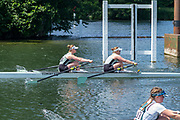 """Henley on Thames, United Kingdom, 22nd June 2018, Friday,   """"Henley Women's Regatta"""",  General view, Championships, Women's Double Scull, Cambridge Universities, moving away from the start,   Competitors, Rowing-Sculling, Training, Henley Reach, Thames Valley,  River Thames, England, © Peter SPURRIER"""