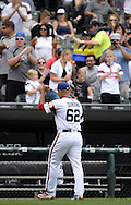 CHICAGO - AUGUST 21:  Jose Quintana #62 of the Chicago White Sox acknowledges the fans while walking off the field against the Oakland Athletics on August 21, 2016 at U.S. Cellular Field in Chicago, Illinois.  The White Sox defeated the Athletics 4-2.  (Photo by Ron Vesely)   Subject:   Jose Quintana
