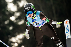 Jerneja Brecl of Slovenia soaring through the air during Trial Round at Day 1 of World Cup Ski Jumping Ladies Ljubno 2019, on February 8, 2019 in Ljubno ob Savinji, Slovenia. Photo by Matic Ritonja / Sportida