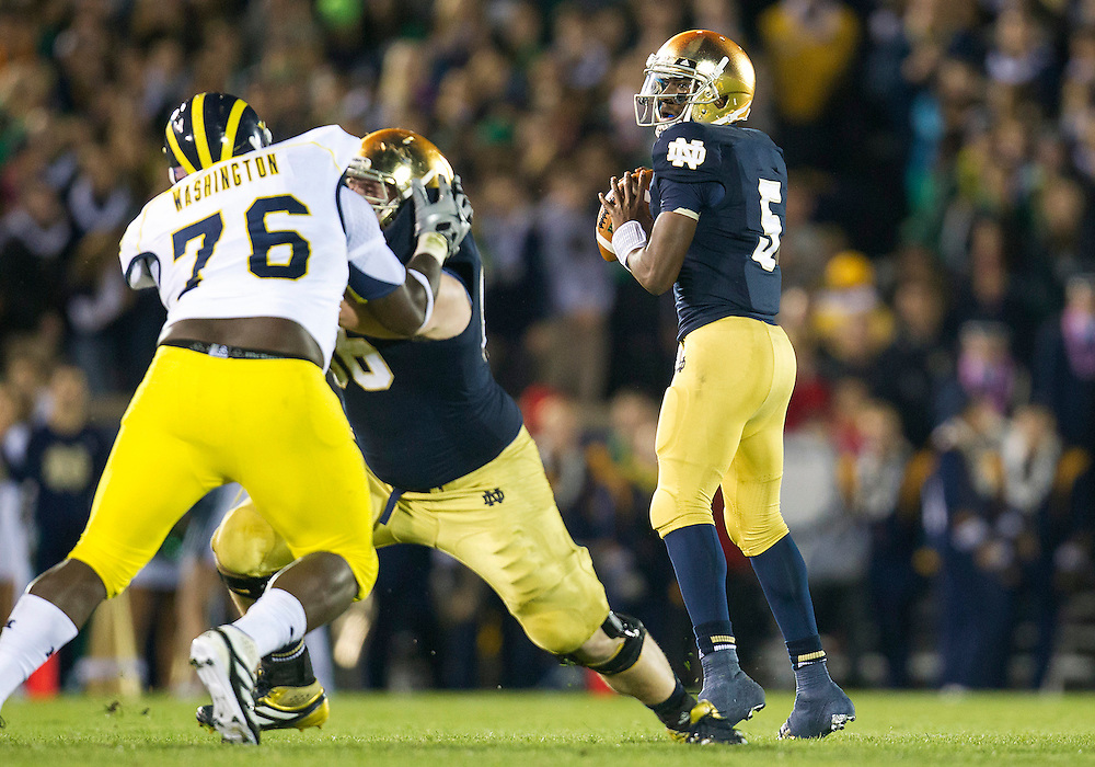 September 22, 2012:  Notre Dame quarterback Everett Golson (5) drops back to pass the ball during NCAA Football game action between the Notre Dame Fighting Irish and the Michigan Wolverines at Notre Dame Stadium in South Bend, Indiana.  Notre Dame defeated Michigan 13-6.