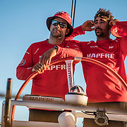 Leg 4, Melbourne to Hong Kong, day 10 on board MAPFRE, change time at the helm, a tired Guillermo Altadill gives the control of the boat to a fresh Pablo Arrarte. Photo by Ugo Fonolla/Volvo Ocean Race. 11 January, 2018.