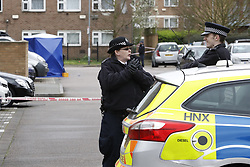 © Licensed to London News Pictures. 20/03/2017. London, UK. Police at the scene of a fatal shooting in Barking, east London, where an 18 year old man was shot in the head on Sunday evening. Photo credit: Peter Macdiarmid/LNP