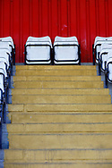 Ground shot of empty seats during the EFL Sky Bet League 2 match between Stevenage and Bradford City at the Lamex Stadium, Stevenage, England on 5 April 2021.