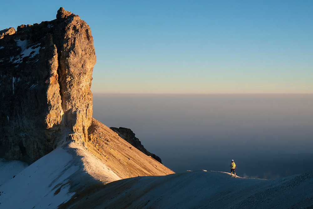 """Alex Roudayna """"Chikorita"""" running down at the Iztaccihuatl volcano during Tres Picos challenge in Mexico on December 5th, 2019."""