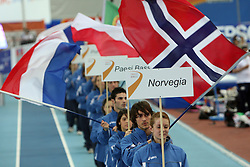 Norvegian flag at the Opening ceremony at the 1st day of  European Athletics Indoor Championships Torino 2009 (6th - 8th March), at Oval Lingotto Stadium,  Torino, Italy, on March 6, 2009. (Photo by Vid Ponikvar / Sportida)