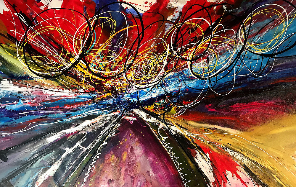 """'ROAD TRIP' . WINNER of 2018 Artist Magazines Annual International Art Competition, Abstract . 40"""" x 60"""" . Acrylic & Inks on Canvas . 2019 . $5,950 (SOLD). <br /> <br /> Artist Notes: Road Trip' reminds me of when I was younger, carefree, and wouldn't think twice about throwing a pack on my back and hitting the road in search of adventure. It screams, freedom! It is one of my favorite paintings and hangs in front of my desk in my studio.<br /> This painting was created with a multiple techniques using 'Golden' high flow acrylics and inks, in highly concentrated form, directly onto canvas.<br /> <br /> My work usually starts on vast sheets of canvas, working on my hands and knees, for long hours, often days on the floor, working wet on wet, before I hang the work for line and palette work. I rarely use brushes as I prefer quick bold marks as they allow me to express myself without the wishy washy, overworking process of brushwork.<br /> <br /> My tools include assorted plaster knives and large metal spatulas, fine and wide tip bottles for the bold exciting moves and just about anything within reach when inspired. I love to work while all the mediums are wet as there is a spontaneous effect that can only be achieved this way. I never know exactly how the paints will play together.<br /> <br /> I also never know where painting will go once I start. 'Road Trip' began with the intentions of being a soft, quiet field of wildflowers. I paint what I feel and obviously I wasn't in a pastel kind of place. I'm pleased with the results!"""