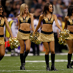 September 9, 2010; New Orleans, LA, USA; New Orleans Saints Saintsations cheerleaders perform during the NFL Kickoff season opener at the Louisiana Superdome. The New Orleans Saints defeated the Minnesota Vikings 14-9.  Mandatory Credit: Derick E. Hingle