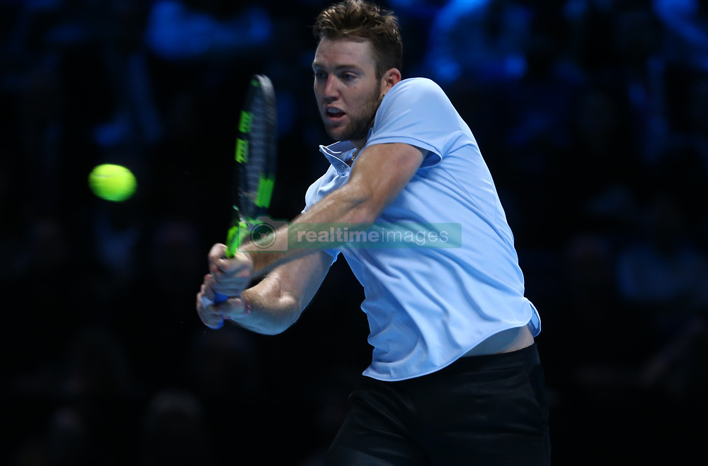 November 16, 2017 - London, United Kingdom - Jack Sock of USA celebrates his win .during Day five of the Nitto ATP World Tour  Finals played at The O2 Arena, London on November 16 2017  (Credit Image: © Kieran Galvin/NurPhoto via ZUMA Press)