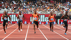 July 21, 2018 - London, United Kingdom - L-R Ronnie Baker of USA Yohan Blake of Jamaica Zharnel Hughes of Great Britain and Northern Ireland Akani Simbine of South Africa and Tyquendo Tracey of Jamaica compete in the 100m Men Final.during the Muller Anniversary Games IAAF Diamond League Day One at The London Stadium on July 21, 2018 in London, England. (Credit Image: © Action Foto Sport/NurPhoto via ZUMA Press)
