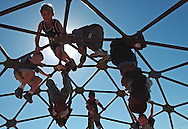First and second grade students at Madison Elementary play on the jungle gym during their lunch recess, Thursday, September 16, 2004.  The school is cautious about having students exercise outdoors when air pollution is unhealthy.