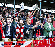 Whitehawk fans celebrate victory after the The FA Cup match between Whitehawk FC and Lincoln City at the Enclosed Ground, Whitehawk, United Kingdom on 8 November 2015. Photo by Bennett Dean.