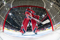 KELOWNA, BC - JANUARY 31: Lukáš Pařík #33 of the Spokane Chiefs stands in net at the start of the game against the Kelowna Rockets at Prospera Place on January 31, 2020 in Kelowna, Canada. Pařík is a 2019 NHL entry draft pick of the Los Angeles Kings. (Photo by Marissa Baecker/Shoot the Breeze)