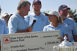 04 Sep 2005<br /> <br /> Christie Kerr accepts a check from Mike Davidson for winning the State Farm LPGA Series Bonus Pool during the awards ceremony on the 18th green.<br /> <br /> LPGA State Farm Classic.  The Rail Golf Course, Springfield (Sherman) Illinois