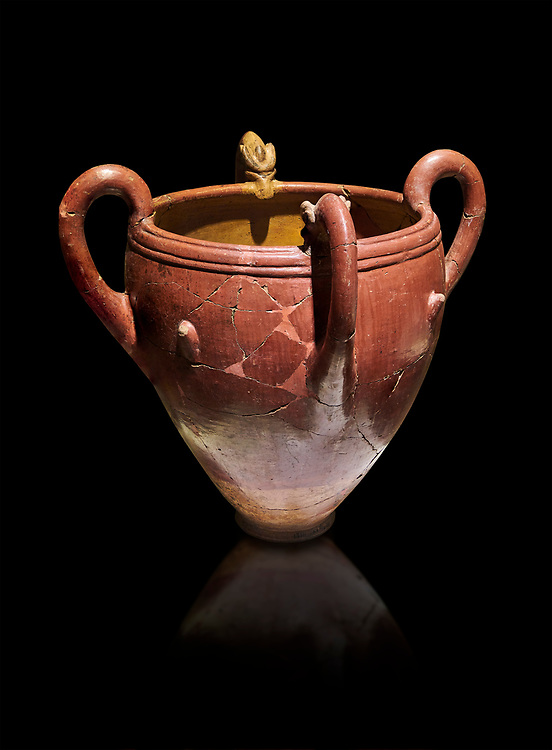 Bronze Age Anatolian four handled terra cotta vase with reliefs - 19th - 17th century BC - Kültepe Kanesh - Museum of Anatolian Civilisations, Ankara, Turkey.  Against a black background. .<br /> <br /> If you prefer to buy from our ALAMY PHOTO LIBRARY  Collection visit : https://www.alamy.com/portfolio/paul-williams-funkystock/kultepe-kanesh-pottery.html<br /> <br /> Visit our ANCIENT WORLD PHOTO COLLECTIONS for more photos to download or buy as wall art prints https://funkystock.photoshelter.com/gallery-collection/Ancient-World-Art-Antiquities-Historic-Sites-Pictures-Images-of/C00006u26yqSkDOM