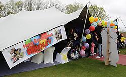 A tent set up for terminally ill football mascot Bradley Lowery to celebrate his sixth birthday at Blackhall Cricket Club near Durham.