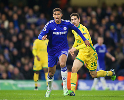 LONDON, ENGLAND - Wednesday, December 10, 2014: Chelsea's Ruben Loftus-Cheek, making his debut, in action against Sporting Clube de Portugal during the final UEFA Champions League Group G match at Stamford Bridge. (Pic by David Rawcliffe/Propaganda)