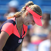 Ekaterina Makarove, Russia, crying during her match against Sara Errani, Italy, during the New Haven Tennis Open at Yale,, Connecticut, USA. 20th August 2013. Photo Tim Clayton