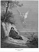 Elijah goes into wilderness and asks to die, but angel comes and bids him 'Arise and eat'. Bible 1 Kings 19.5. From Gustave Dore 'Bible' 1865-1856. Wood engraving