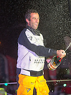 """The Vendee Globe Race Finish. Les Sables d Olonne. France. On Friday the 20th January 2017.<br /> Armel Le Cléac'h winner of the Vendee Globe onboard his 'Banque Popular""""  IMOCA Open60. He finished 1st in the Vendee Globe solo non stop around the world yacht race. Shown here in the Sables d Olonne port celebrating. He completed the solo non stop around the world race in a record 74days. 3hours and 35 minutes on Friday the19th January 2017.<br /> <br /> Photo by Lloyd Images/Getty Images"""