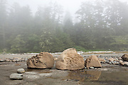 Strange boulders on continental shelf bedrock, West Coast Trail, British Columbia, Canada.