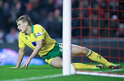 19.01.2013, Anfield, Liverpool, ENG, Premier League, FC Liverpool vs Norwich City, 23. Runde, im Bild Norwich City's Ryan Bennett looks dejected after scoring an own goal to hand Liverpool their fifth goal during the English Premier League 23th round match between Liverpool FC and Norwich City FC at Anfield, Liverpool, Great Britain on 2013/01/19. EXPA Pictures © 2013, PhotoCredit: EXPA/ Propagandaphoto/ David Rawcliffe..***** ATTENTION - OUT OF ENG, GBR, UK *****