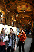 The Natural History Museum, London. Visitors in the primate galleries.