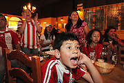 Paraguay v Japan at Nueva Costa Darada, Hanway Street W1.<br /> <br /> <br /> Copyright: Jonathan GoldbergWorld Cup 2010 watched  on London TV<br /> Paraguay v Japan, Costa Dorada, Hanway Street, Soho