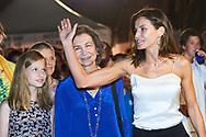 Crown Princess Leonor, Queen Sofia of Spain, Queen Letizia of Spain attends Ara Malikian Concert at Porto Adriano on August 2, 2018 in Mallorca, Spain
