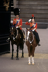 13/06/1964. Queen Elizabeth II, accompanied by the Duke of Edinburgh, takes the salute outside Buckingham Palace at the conclusion of the Trooping the Colour ceremony. The Royal couple will celebrate their platinum wedding anniversary on November 20.