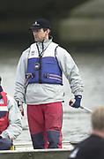 Hammersmith, London. 2002 University Boat Race, 26/3/2002, Tideway Week,<br /> <br /> <br /> 27/3/2002<br /> Cambridge Cambridge Blue Boat training.<br /> Chief coach Robin Williams <br /> <br /> [Mandatory Credit; Peter SPURRIER/Intersport Images] 20020327 University Boat Race, [Varsity],  Tideway Week. Putney. London