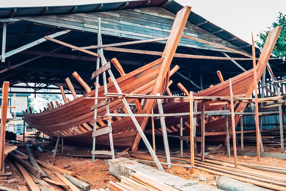 Riau Islands, Bintan. Kijang, south Bintan. Local vessels built of teak.