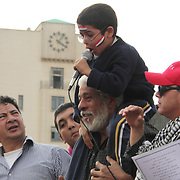 A revolutionary from the word go, this small boy fluently delivers words of hope and unity to the assembled masses in Cairo's Tahrir Square.