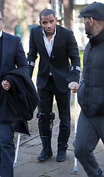 © Licensed to London News Pictures. 05/01/2018. Guildford, UK. Crystal Palace football club captain Jason Puncheon (C) leaves Guildford Magistrates Court. He is charged with various offences including  common assault  and possession of an offensive weapon after an altercation outside a nightclub in Reigate in the early hours of December 17th, 2017. Photo credit: Peter Macdiarmid/LNP