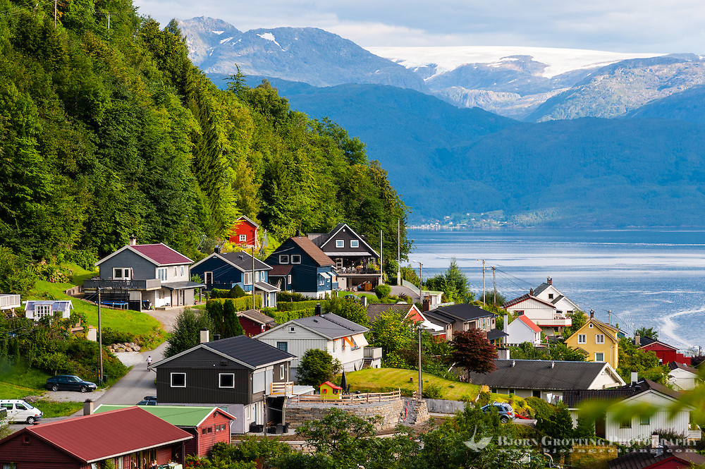 Norway, Øystese. Hardangerfjord with Folgefonna glacier.
