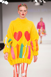 © Licensed to London News Pictures. 31/05/2015. London, UK. Collection by Danielle Spencer. Fashion show of the University of East London (UEL) at Graduate Fashion Week 2015. Graduate Fashion Week takes place from 30 May to 2 June 2015 at the Old Truman Brewery, Brick Lane. Photo credit : Bettina Strenske/LNP