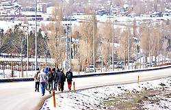 A group of refugees are seen walking near Erzurum city of eastern Turkey. Thousands of refugees enter from Iranian border to Turkey illegally. Refugees are passing the mountains in the border by foot and arriving to border cities Agri and Igdir in Turkey. Then they walk from Igdır to Erzurum city at eastern Turkey for a hope to reach Istanbul and for a final destination to Europe. Refugees are generally coming from Afghanistan. More than 3,000 Afghans travel this route by walking every day, while nearly 2,000 are sent back, reports Afghanistan's Ministry of Refugees and Returnees on april 6, 2018. Photo by Depo Photos/ABACAPRESS.COM