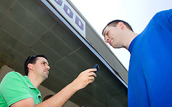 Journalist Martin Pavcnik and Uros Slokar of Slovenia Basketball national team at departure to Rogla before World Championship in Turkey, on July 10, 2010 at KZS, Ljubljana, Slovenia. (Photo by Vid Ponikvar / Sportida)