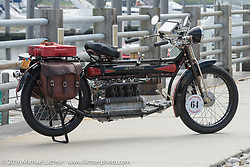 Steve Macdonald's 4-cylinder Mark Hill restored 1912 class-2 Henderson before the start of the Motorcycle Cannonball Race of the Century Run. Atlantic City, NJ, USA. September 9, 2016. Photography ©2016 Michael Lichter.