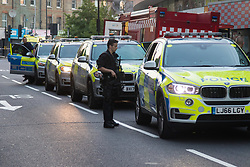 """Finsbury Park, London, June 19th 2017. A major police and emergency services operation with firearms officers in attendance is underway near Finsbury Park Mosque following reports of Several people being injured after a van struck a crowd of pedestrians near a north London mosque in what police have called a """"major incident"""". PICTURED: Armed officers are present at the scene."""