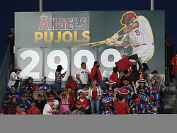 May 3, 2018 - Anaheim, CA, U.S. - ANAHEIM, CA - MAY 03: A sign in centerfield is changed after Los Angeles Angels of Anaheim first baseman Albert Pujols (5) hit a double for his 2999th career hit in the second inning of a game against the Baltimore Orioles played on May 3, 2018 at Angel Stadium of Anaheim in Anaheim, CA. (Photo by John Cordes/Icon Sportswire) (Credit Image: © John Cordes/Icon SMI via ZUMA Press)