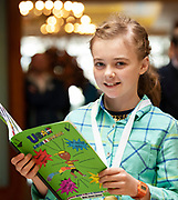 07/04/2019 repro free: Ella Ní Mhadroin Scoil Chiarain Cilll Chiarain with her book  at Scriobh Leabhair organised by The Galway Education Centre and held at the Salthill Hotel  . Photo: Andrew Downes, Xposure