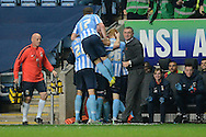 Coventry City striker Adam Armstrong celebrates scoring the third goal during the Sky Bet League 1 match between Coventry City and Peterborough United at the Ricoh Arena, Coventry, England on 31 October 2015. Photo by Alan Franklin.