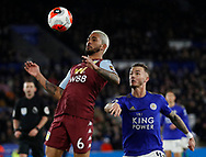 Douglas Luiz of Aston Villa intercepts James Maddison of Leicester City during the Premier League match at the King Power Stadium, Leicester. Picture date: 9th March 2020. Picture credit should read: Darren Staples/Sportimage
