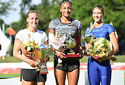 Heptathlon winner Nafi Thiam aka Nafissatou Thiam (BEL), center, poses with runner-up Xenia Krizsan (HUN), left, and third-place finisher Laura Ikauniece (LAT) during the DecaStar meeting, Saturday, June 23, 2019, in Talence, France. Thiam won with 6,819 points. (Jiro Mochizuki/Image of Sport via AP)