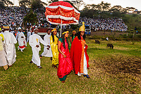 Celebration of Meskel (an annual religious holiday of the Ethiopian Orthodox Church which commemorates the discovery of the True Cross by the Roman Empress Helena in the fourth century. Meskel includes the burning of a large bonfire, or Demera. Arba Minch, Ethiopia.