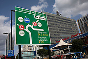 Sign for the redeveloped roundabout at Elephant and Castle in London, UK. The area is now subject to a master-planned redevelopment budgeted at £1.5 billion. A Development Framework was approved by Southwark Council in 2004. It covers 170 acres and envisages restoring the Elephant to the role of major urban hub for inner South London.