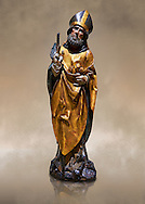 Gothic wooden statue of Sant Nicolau (Nicholas) from Gremany, circa 1500, tempera and gold leaf on wood, from the church of San Miguel de Medina del Campo, Valladolid..  National Museum of Catalan Art, Barcelona, Spain, inv no: MNAC  65507. Against a art background. .<br /> <br /> If you prefer you can also buy from our ALAMY PHOTO LIBRARY  Collection visit : https://www.alamy.com/portfolio/paul-williams-funkystock/gothic-art-antiquities.html  Type -     MANAC    - into the LOWER SEARCH WITHIN GALLERY box. Refine search by adding background colour, place, museum etc<br /> <br /> Visit our MEDIEVAL GOTHIC ART PHOTO COLLECTIONS for more   photos  to download or buy as prints https://funkystock.photoshelter.com/gallery-collection/Medieval-Gothic-Art-Antiquities-Historic-Sites-Pictures-Images-of/C0000gZ8POl_DCqE